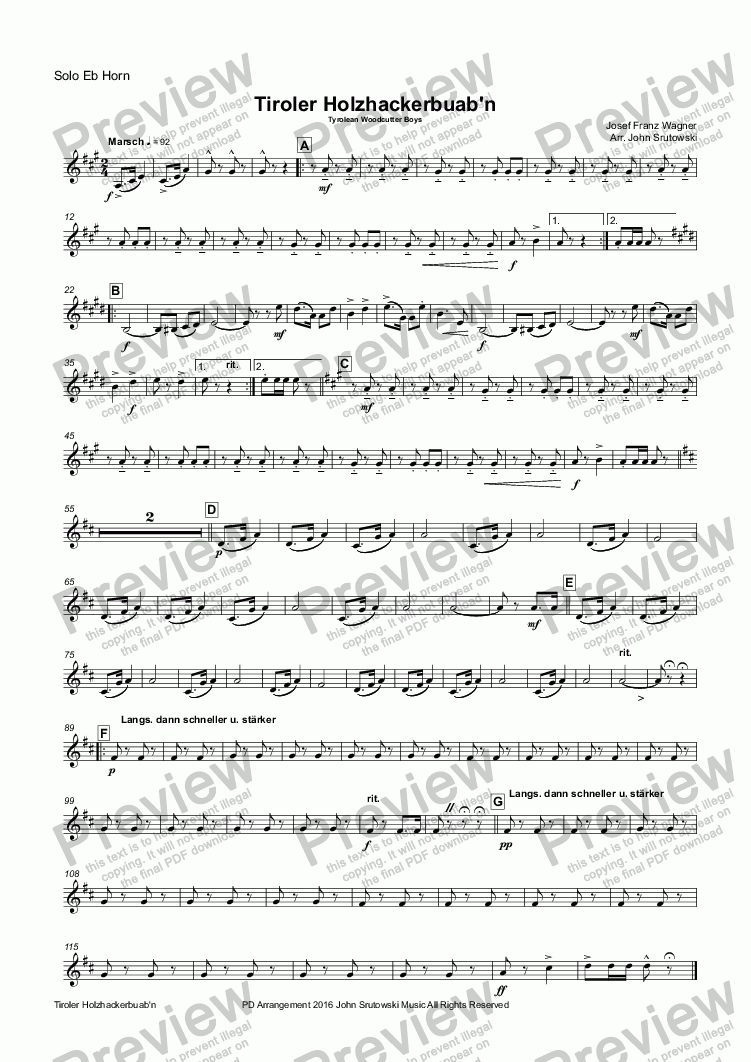 page one of the Solo Eb Horn part from Tiroler Holzhackerbuab'n