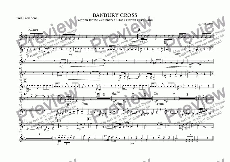 page one of the 2nd Trombone part from March: BANBURY CROSS