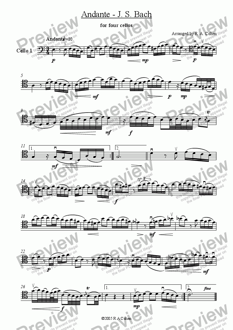 page one of the cello 1 part from Bach - ANDANTE - for cello quartet