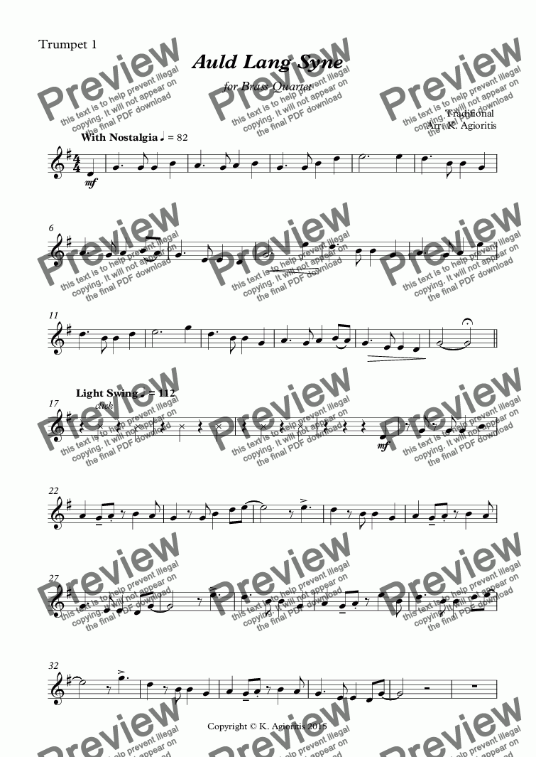 page one of the Trumpet 1 part from Auld Lang Syne - Brass Quartet