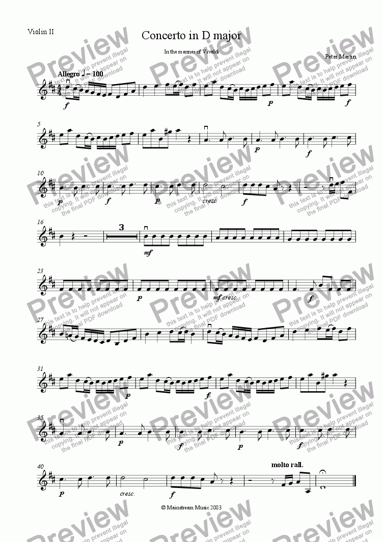 page one of the Violin 2 part from Concerto in D Major in the manner of Vivaldi - Score & Parts