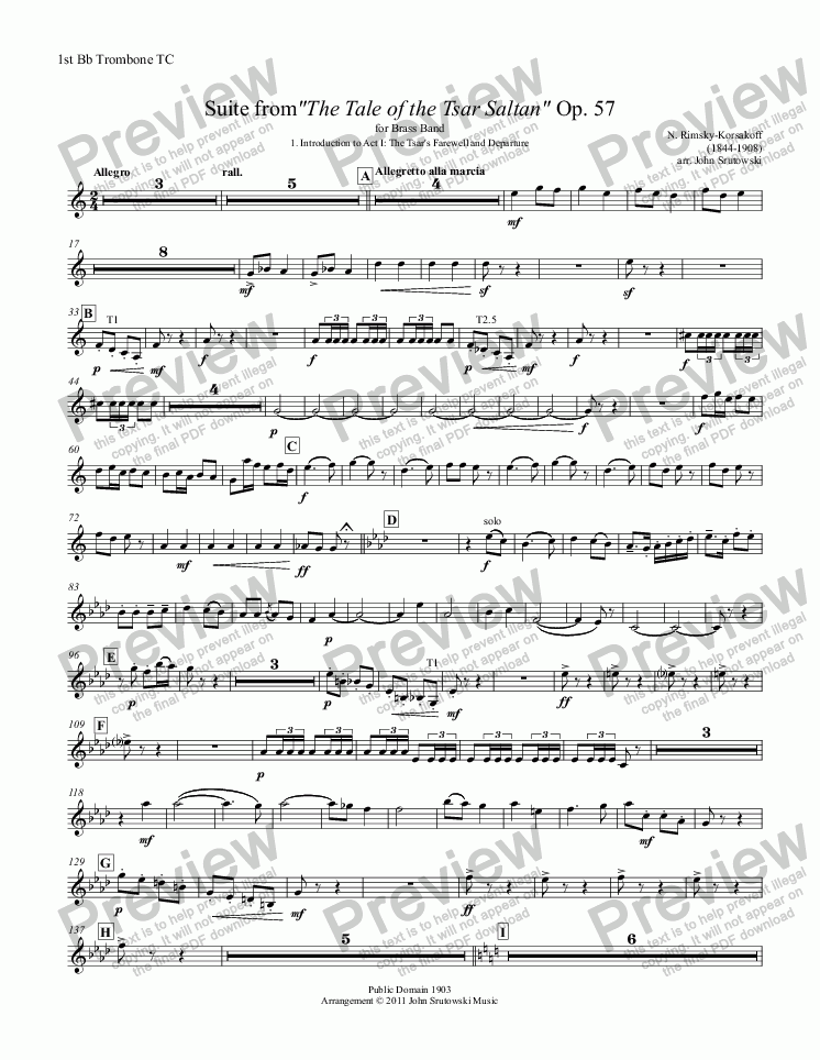 "page one of the 1st Bb Trombone TC part from Suite from""The Tale of the Tsar Saltan"" Op. 57 for Brass Band"