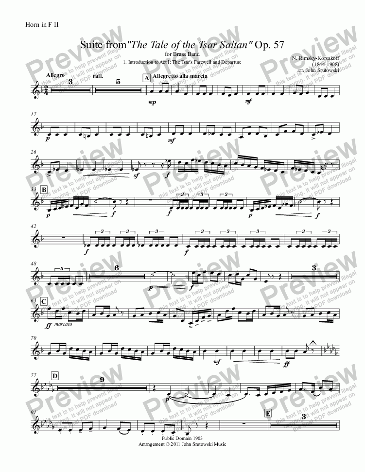"page one of the Horn in F II part from Suite from""The Tale of the Tsar Saltan"" Op. 57 for Brass Band"
