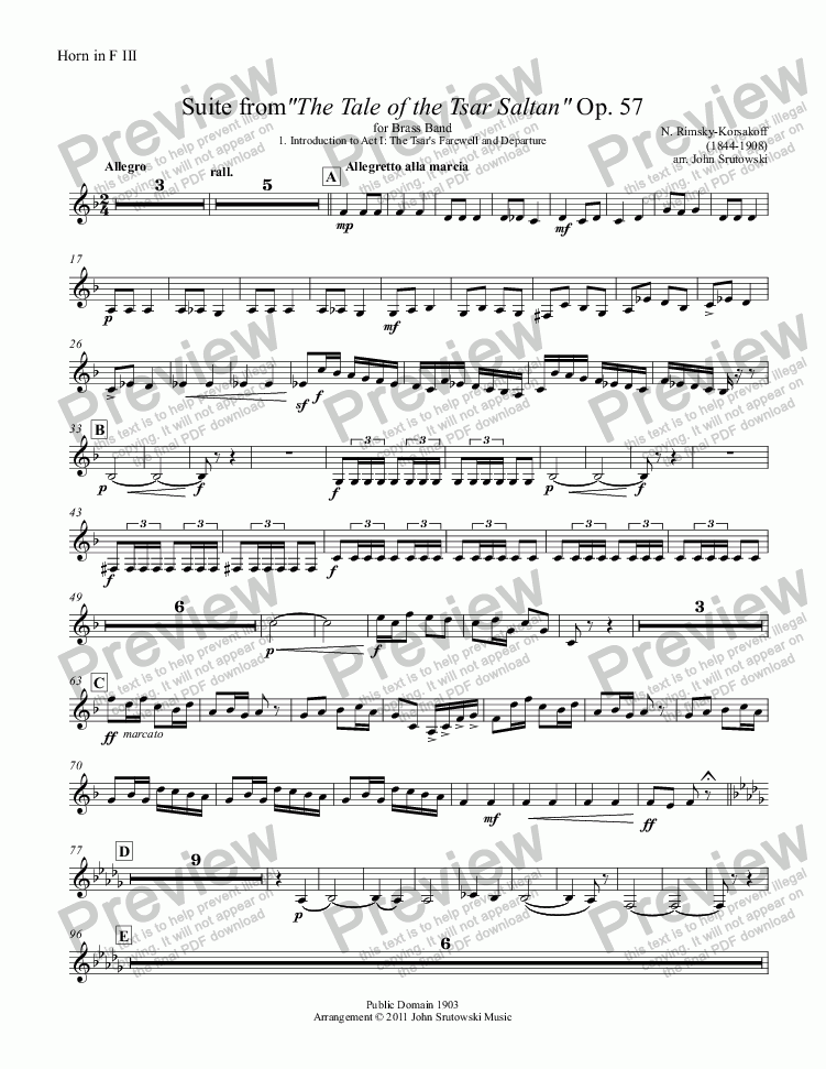 "page one of the Horn in F III part from Suite from""The Tale of the Tsar Saltan"" Op. 57 for Brass Band"
