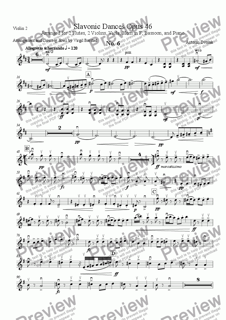 page one of the Violin 2 part from Slavonic Dances Op 46 - 6