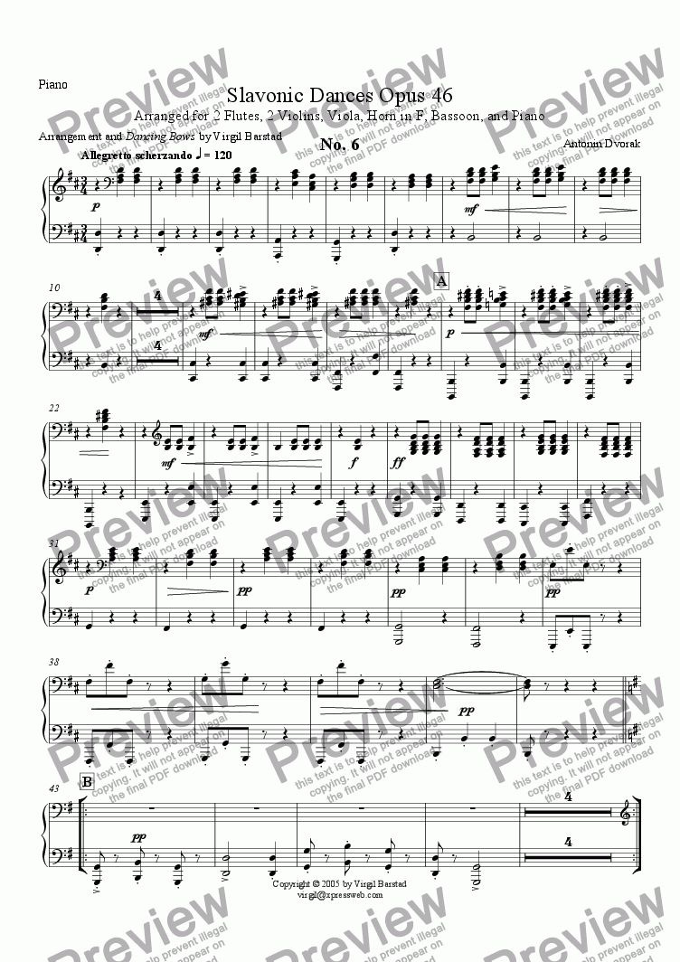page one of the Piano part from Slavonic Dances Op 46 - 6