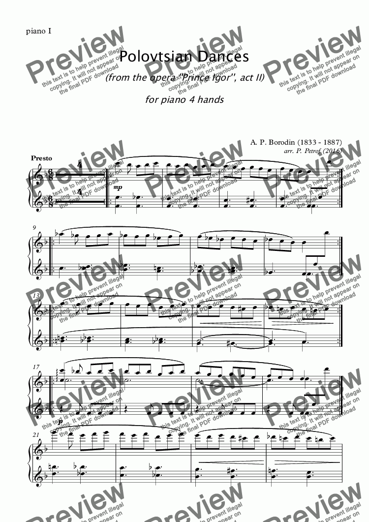 page one of the piano I part from A. Borodin - POLOVTSIAN DANCES - piano 4 hands
