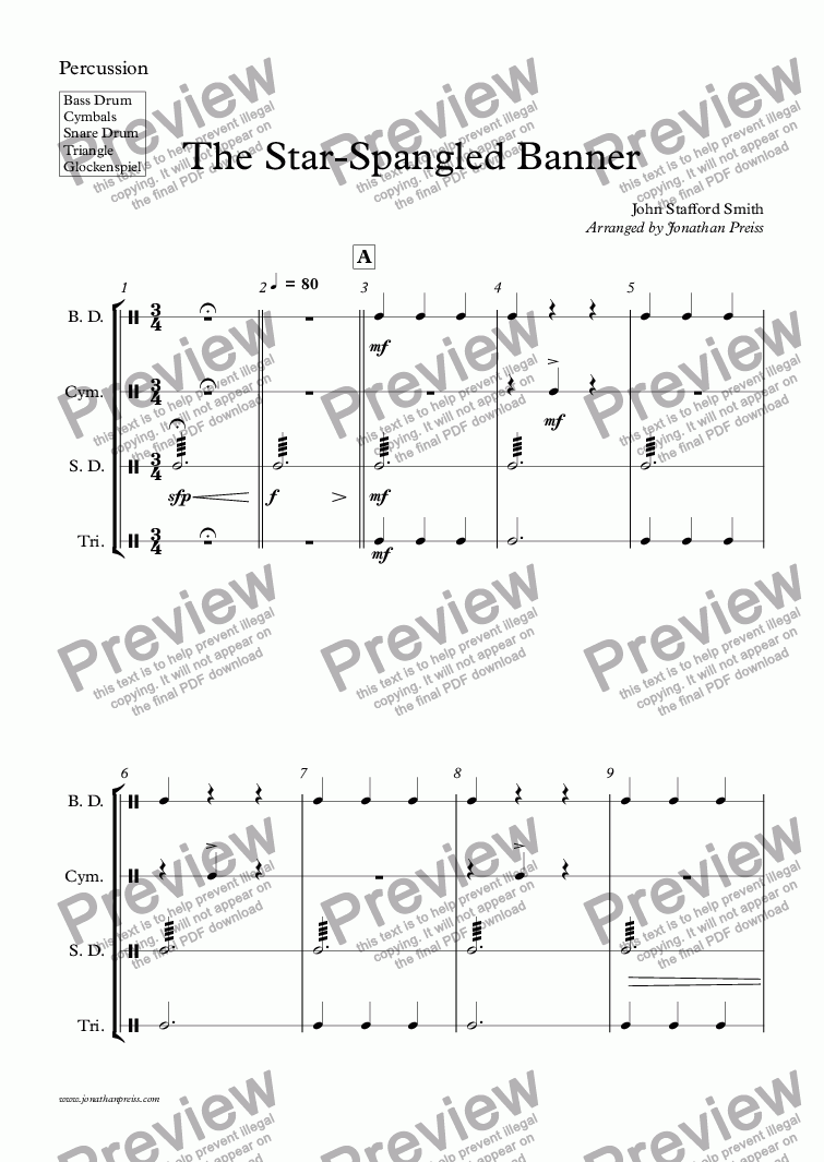 page one of the 22 - Percussion (5 players) part from The Star-Spangled Banner