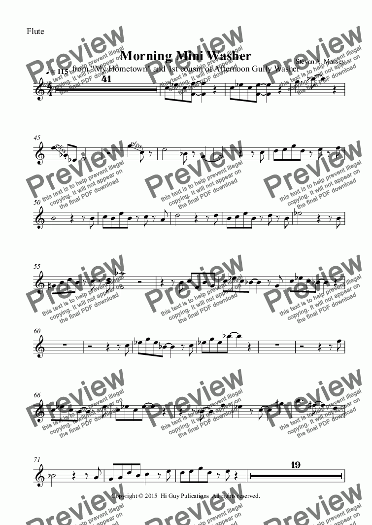 page one of the Flute part from Morning Mini Washer