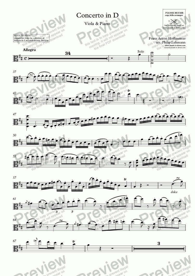 page one of the Viola part from Hoffmeister, F.A. - Concerto in D-major - for Viola (orig.) & Piano (simplified)