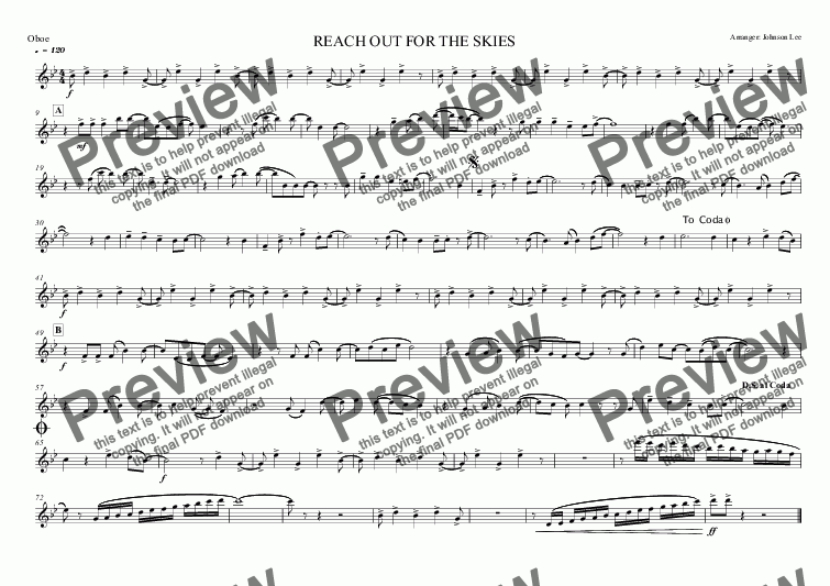 page one of the Oboe part from REACH OUT FOR THE SKIES