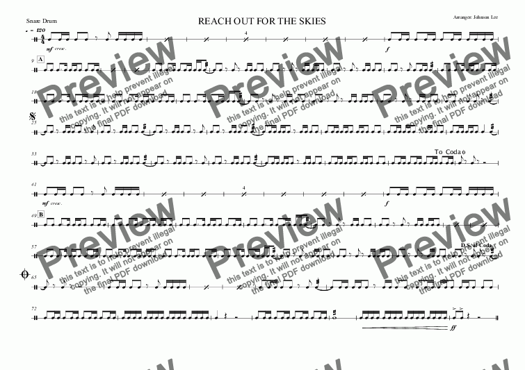 page one of the Snare Drum part from REACH OUT FOR THE SKIES