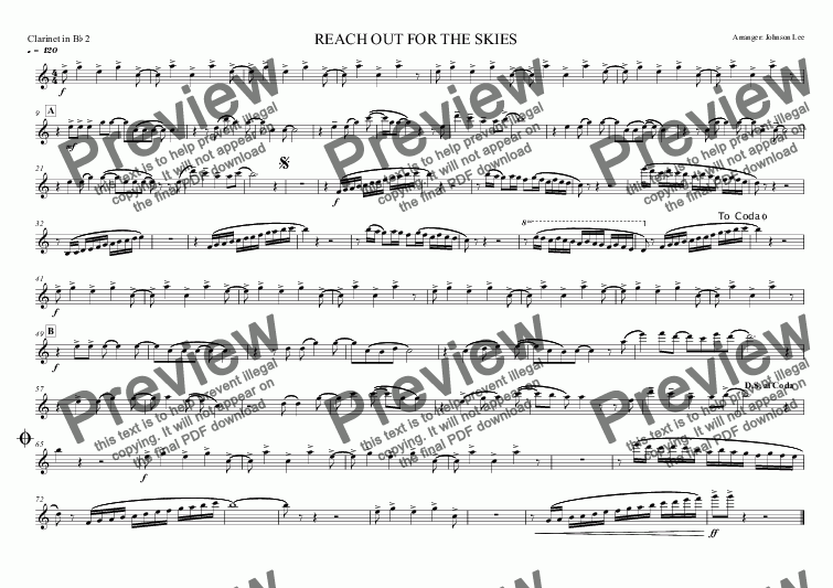 page one of the Clarinet in B^b 2 part from REACH OUT FOR THE SKIES