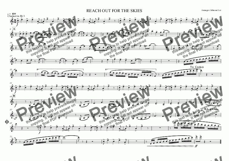 page one of the Clarinet in B^b 3 part from REACH OUT FOR THE SKIES