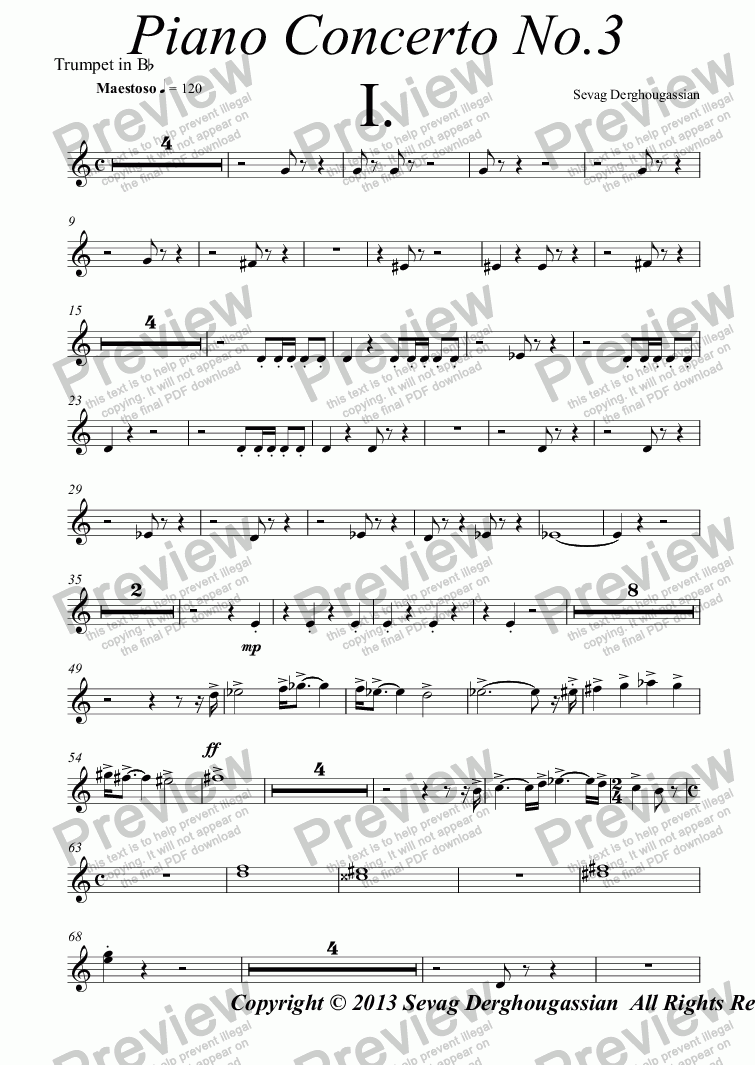 "page one of the Trumpet in B^b part from Piano Concerto No.3, Opus 13 (Concert Fantasy) ""THE STRAGGLE"""