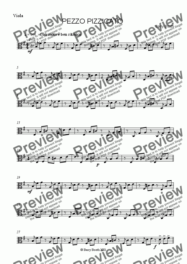 page one of the viola part from Pezzo Pizzicato