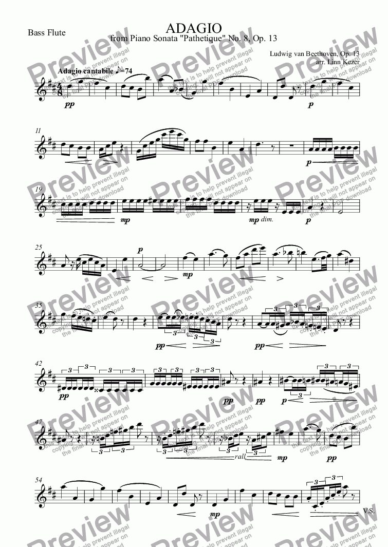 page one of the Bass Flute part from ADAGIO