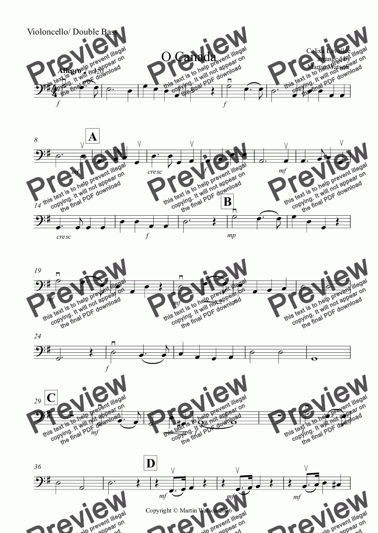 page one of the Violoncello/ Double Bass part from O Canada for Orchestra