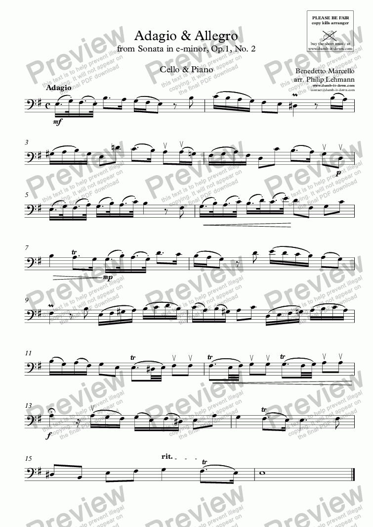 page one of the Cello part from Marcello, B. - Adagio & Allegro from Sonata in e, Op.1 No.2 - for Cello (orig.) & Piano (simplified)