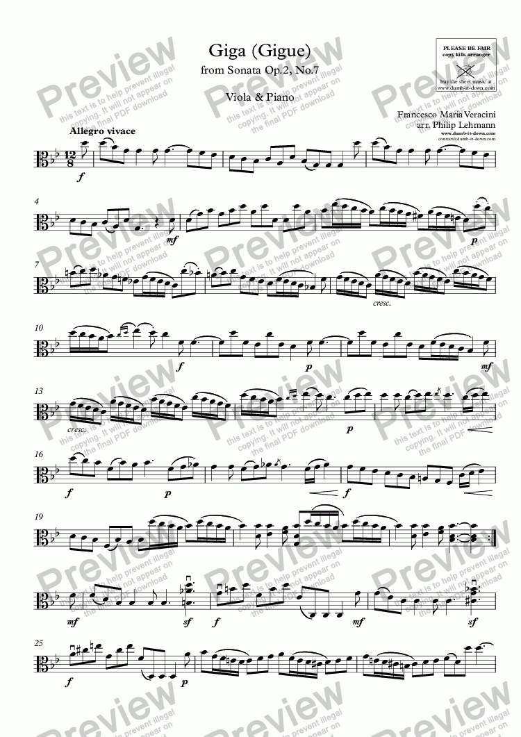 page one of the Viola part from Veracini, F.M. - Giga (Gigue) from Sonata in d - Op.2, No.7 - for Viola (orig.) & Piano (simplified)
