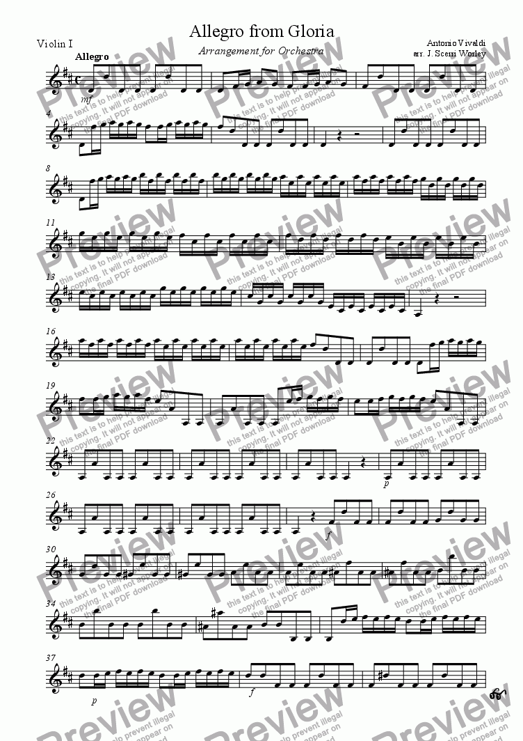 page one of the Violin 1 part from Allegro from Vivaldi's Gloria