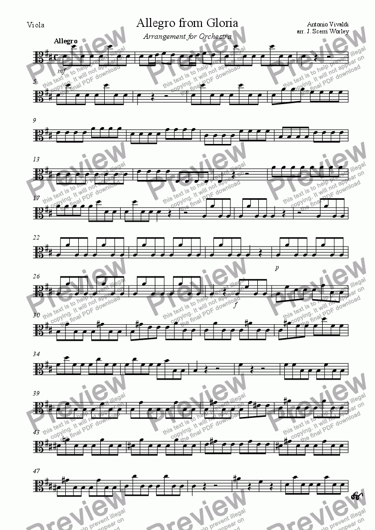 page one of the Viola part from Allegro from Vivaldi's Gloria