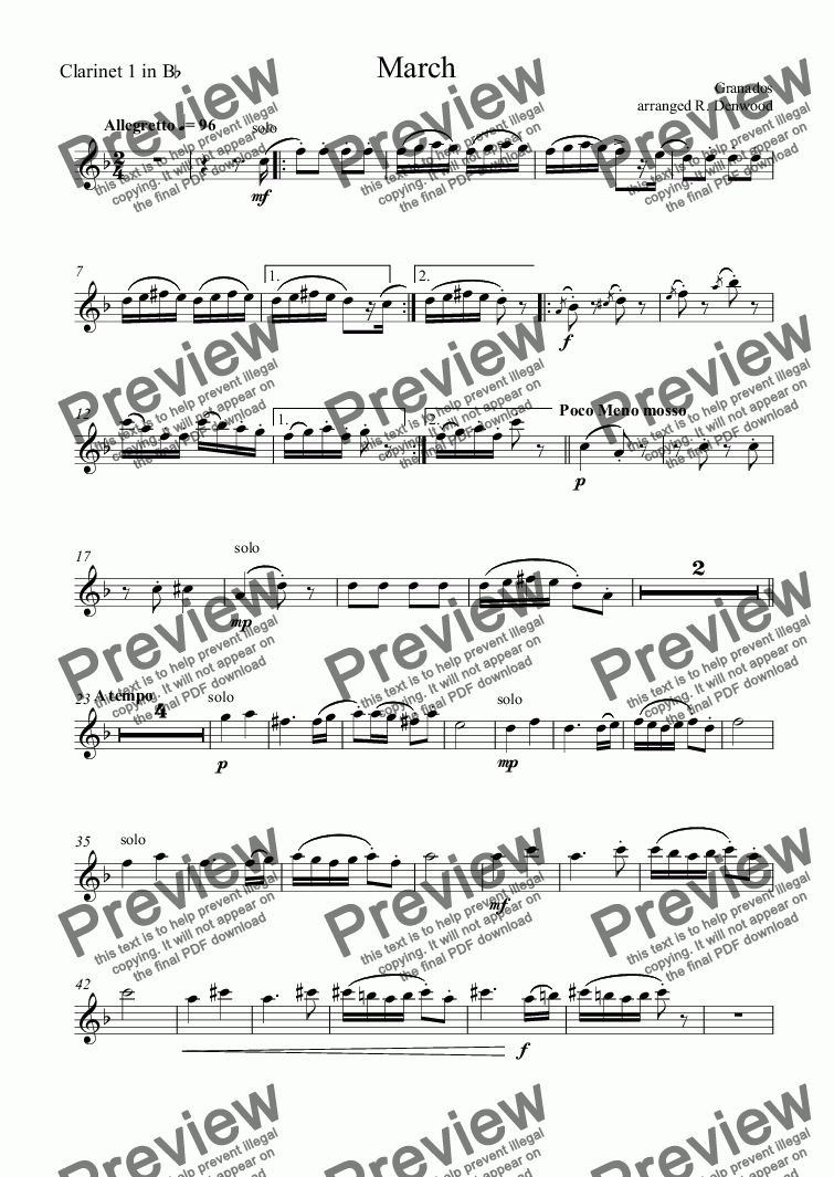 page one of the Clarinet 1 in B^b part from Granados - March for 4 Bb clarinets