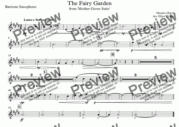 page one of the Baritone Saxophone part from The Fairy Garden