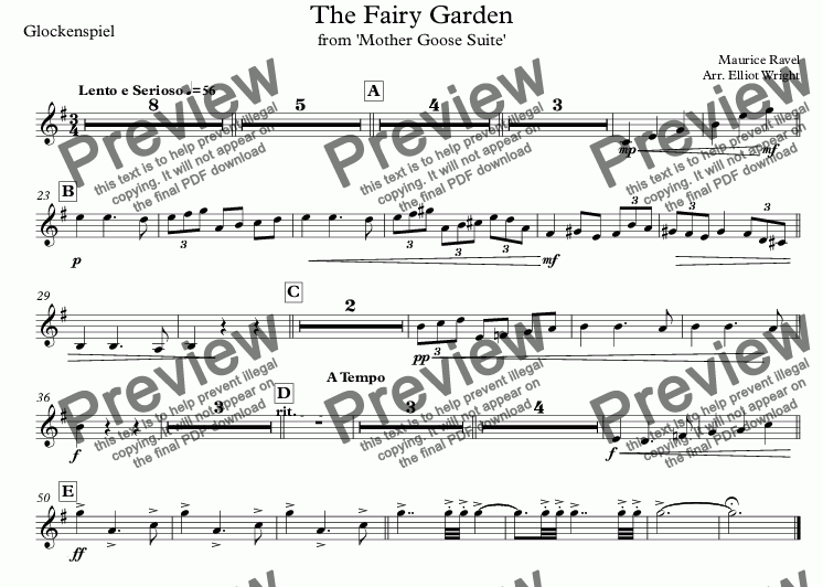 page one of the Glockenspiel part from The Fairy Garden