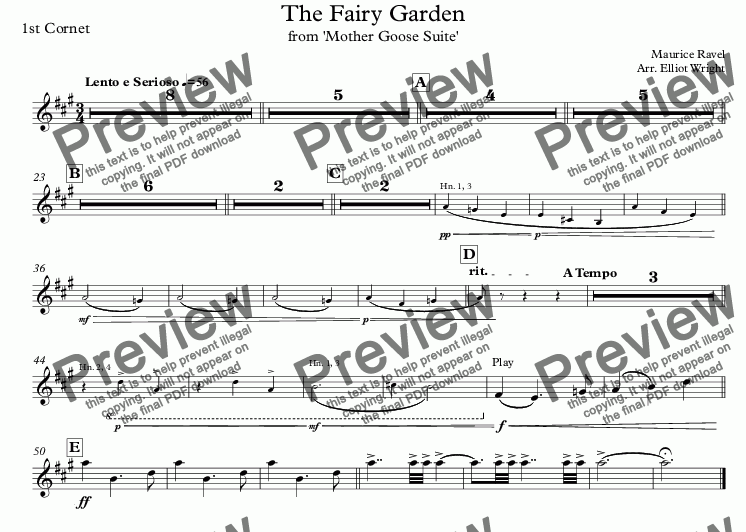 page one of the 1st Cornet part from The Fairy Garden
