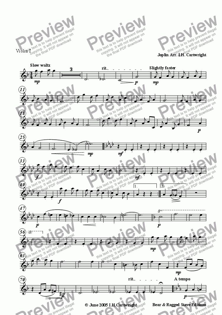 page one of the Violin I part from Bethena - a concert waltz for string quartet