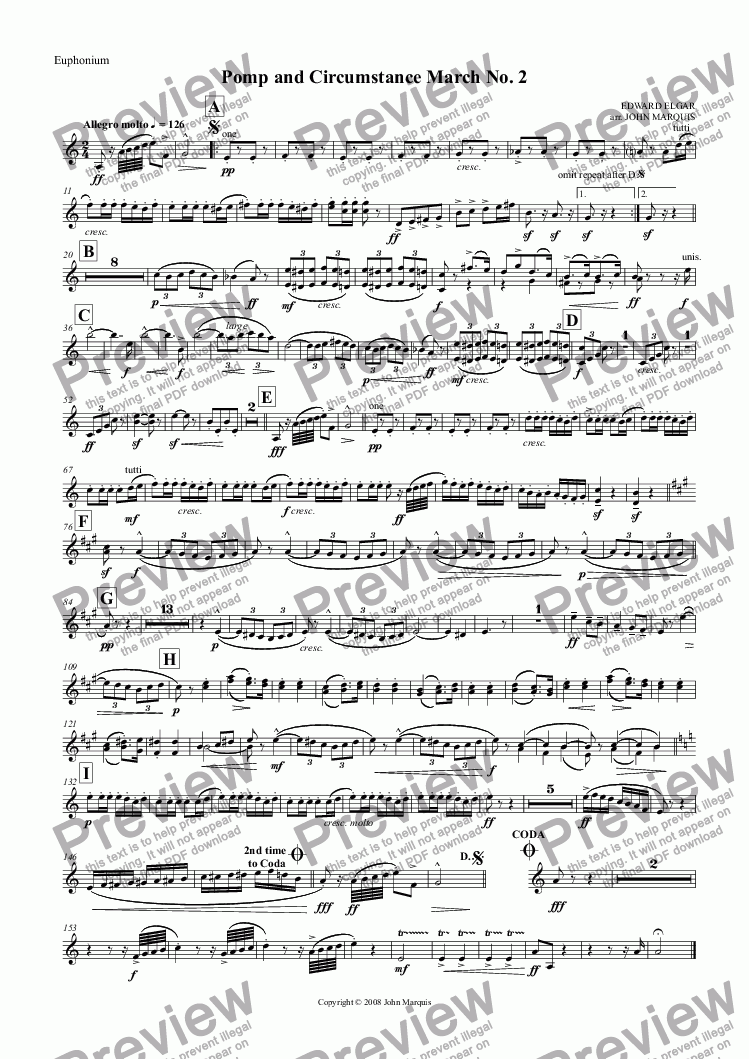 page one of the Euphonium part from Pomp and Circumstance March No. 2
