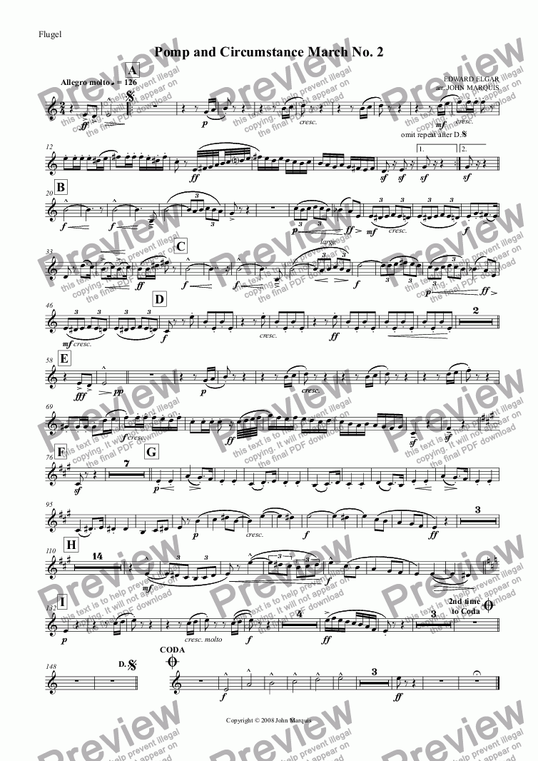 page one of the Flugel part from Pomp and Circumstance March No. 2