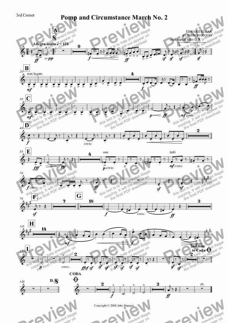 page one of the 3rd Cornet part from Pomp and Circumstance March No. 2