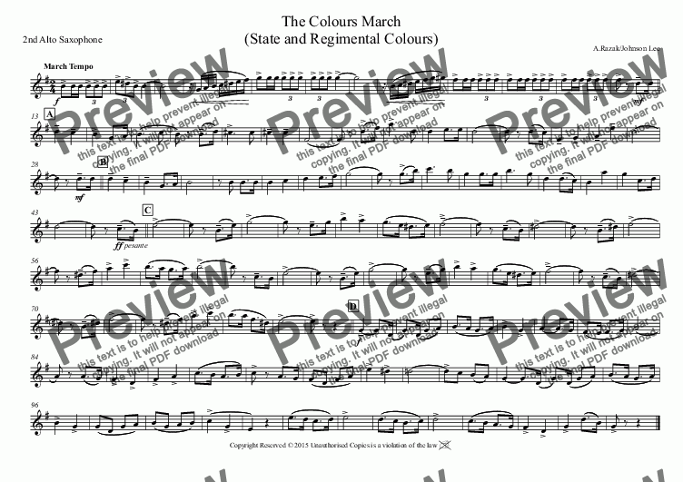 page one of the 2nd Alto Saxophone part from The Colours March (State and Regimental Colours)