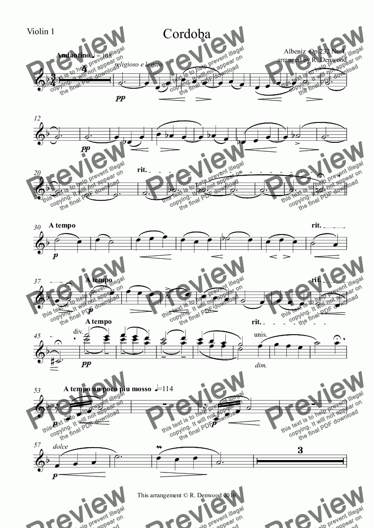 page one of the Violin 1 part from Albeniz - Cordoba for String Orchestra