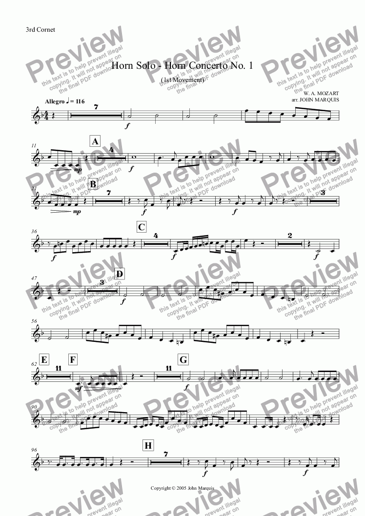 page one of the 3rd Cornet part from Horn Solo - Horn Concerto No. 1