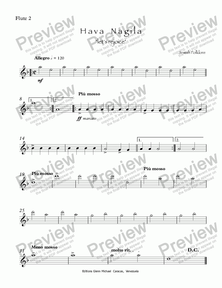 page one of the Flute 2 part from Hava Nagila for two flutes