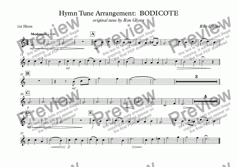 page one of the 1st Horn part from Hymn Tune Arrangement:  BODICOTE original tune by Ron Glynn