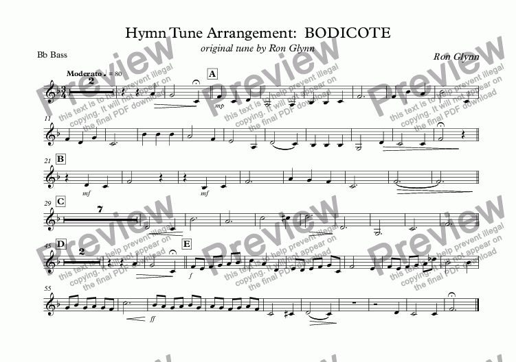 page one of the Bb Bass part from Hymn Tune Arrangement:  BODICOTE original tune by Ron Glynn