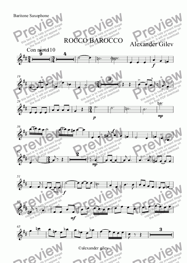 page one of the Baritone Saxophone part from ROCCO BAROCCO
