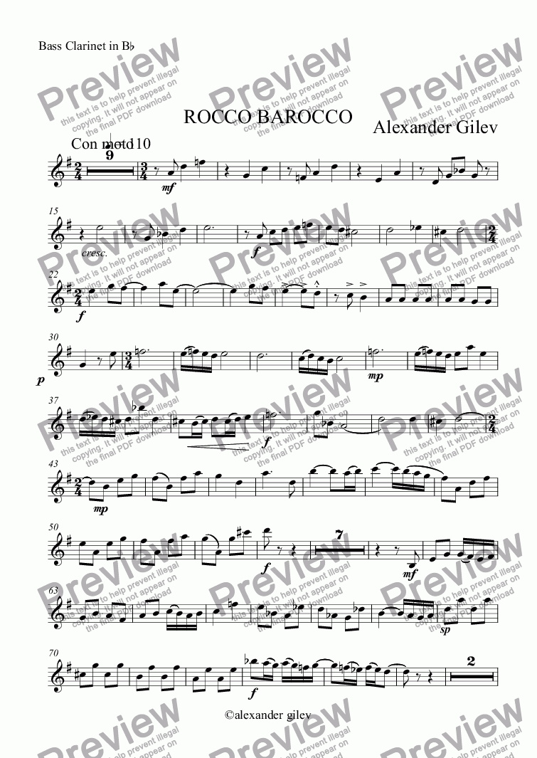 page one of the Bass Clarinet in B^b part from ROCCO BAROCCO