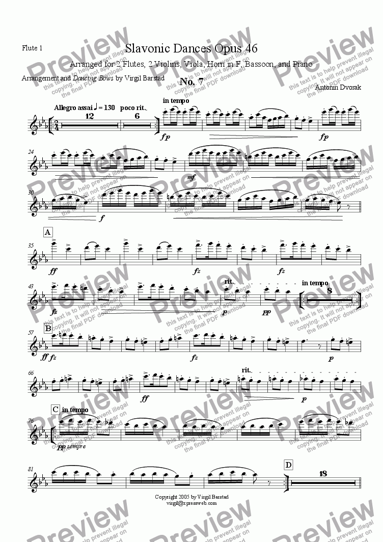 page one of the Flute 1 part from Slavonic Dances Op 46 - 7