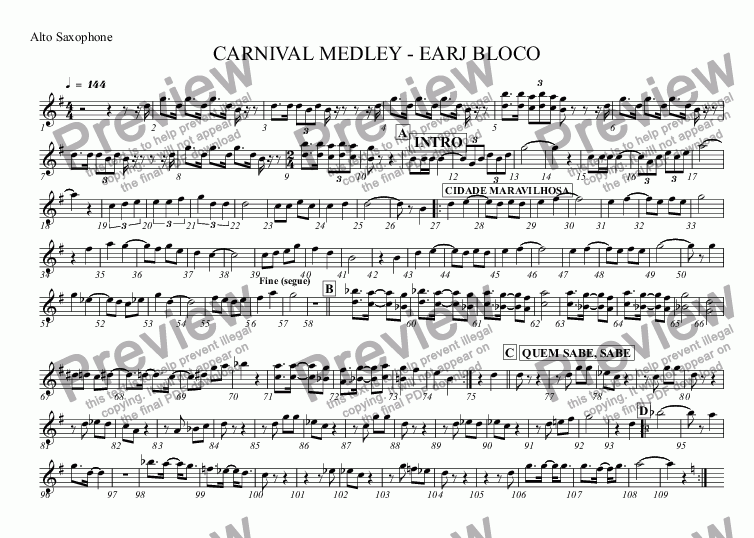 page one of the Alto Saxophone part from CARNIVAL MEDLEY - STREET BAND