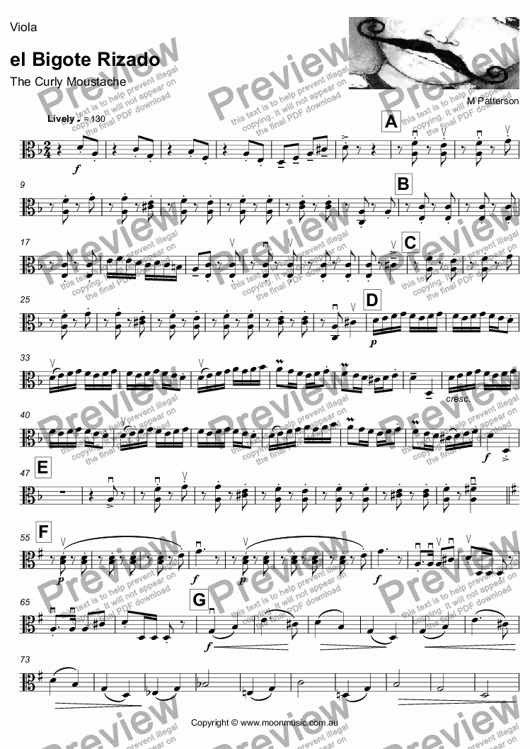 page one of the Viola part from el Bigote Rizado