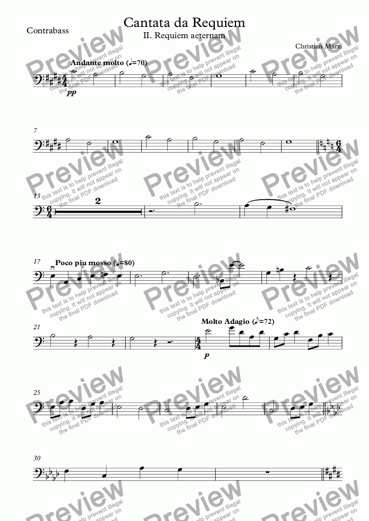 page one of the Contrabass part from Cantata da Requiem - II