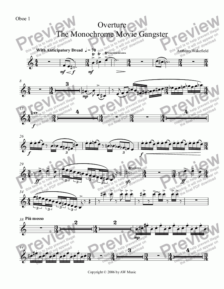 page one of the Oboe 1 part from The Monochrome Movie Gangster