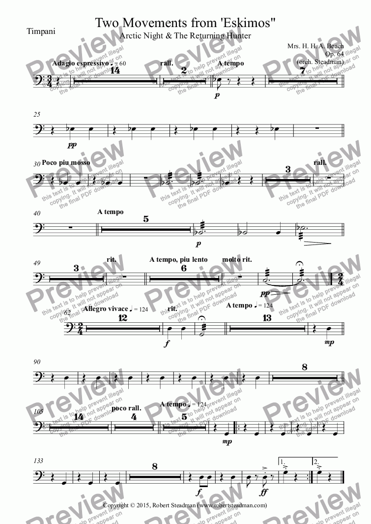 page one of the Timpani part from Two Movements from 'Eskimos""