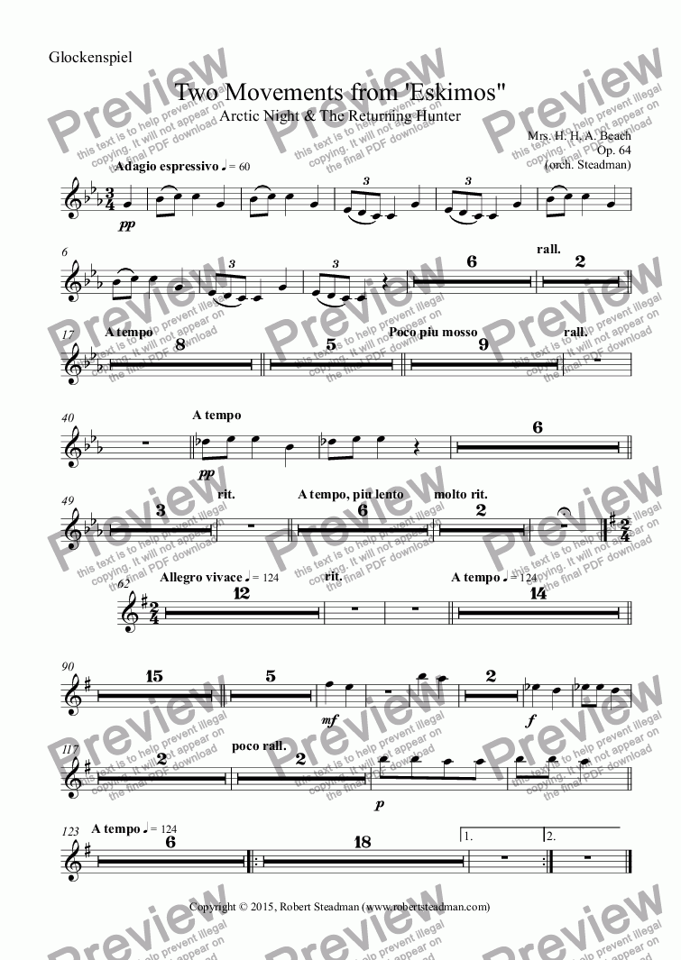 page one of the Glockenspiel part from Two Movements from 'Eskimos""
