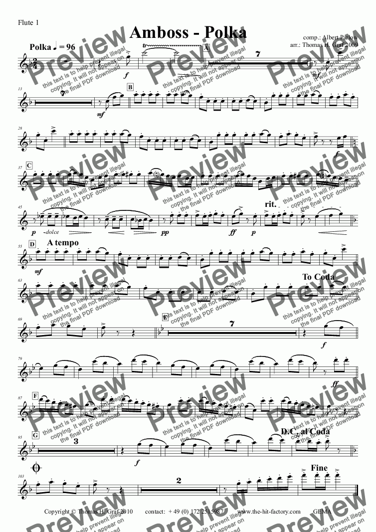 page one of the Flute 1 part from Amboss - Polka - Concert Band